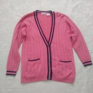 Vintage pink knit boyfriend sporty contrast trim
